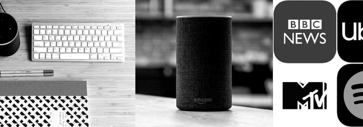 Amazon Echo sitting on a desk